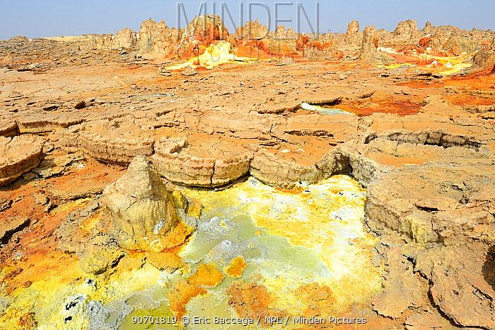 Dallol hot spring with salt concretions coloured by sulphur, potassium and iron, Dallol Volcano, Danakil Depression, Ethiopia, March 2015.