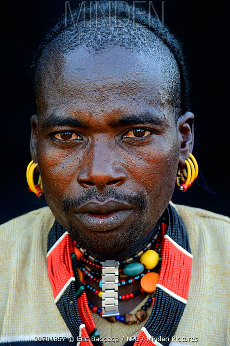 Hamer tribe man wearing traditional jewels, Omo Valley, Ethiopia, March 2015.