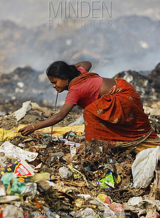 Indian woman in sari picking through rubbish a t a landfill site, Guwahti, Assam, India, March 2009.