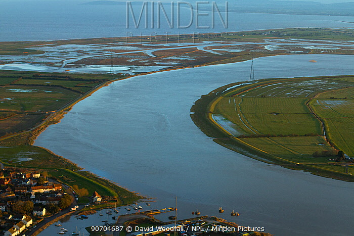 Aerial view of the River Parrett and Steart Marshes Wildfowl and Wetland Trust, Somerset, UK, February 2015.   This area has been allowed to flood by the WWT and the Environment Agency to create new salt marsh habitat and is an example of managed retreat.