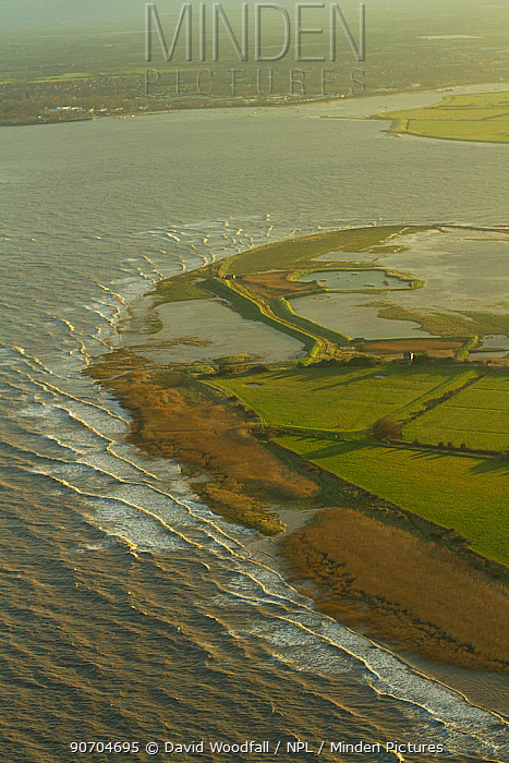 Aerial view of Steart Peninsula, at the mouth of the River Parret, Somerset, UK, February 2015.