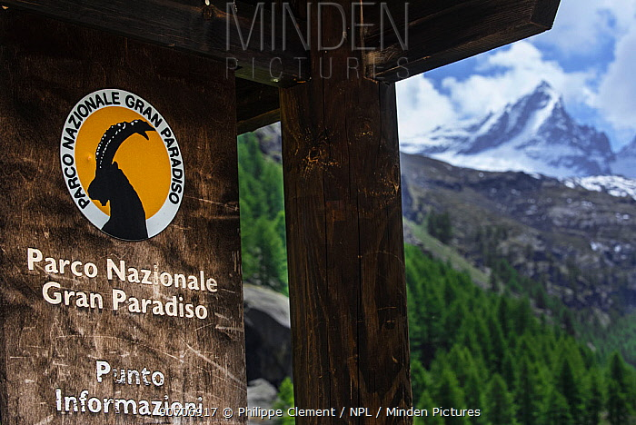 Logo of the Gran Paradiso National Park, featuring an ibex, Graian Alps, Italy, June 2015.