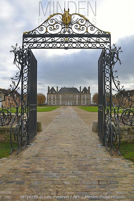 Entrance to Haras Du Pin, France's oldest national stud, Le Pin-au-Haras, Orne, Lower Normandy, France, November.