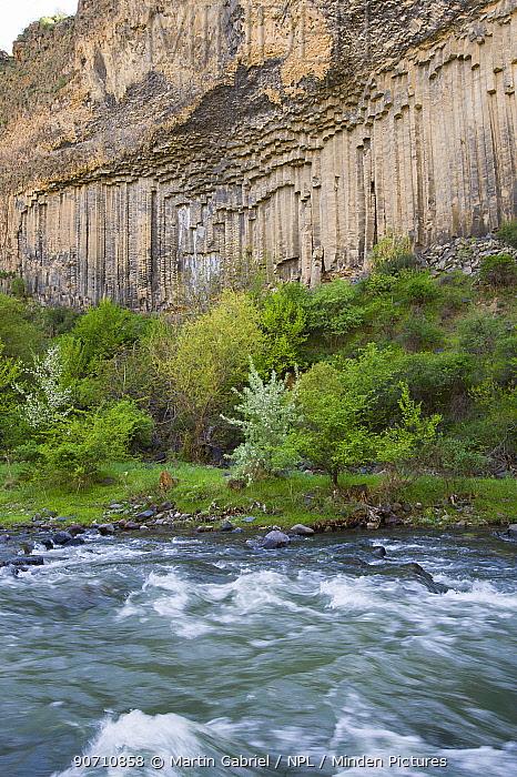 Basalt columns, Garni gorge, Armenia, May.