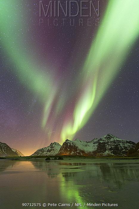Northern lights (Aurora borealis) over Skagsanden beach, Flakstadoya, Lofoten, Norway. March 2015.