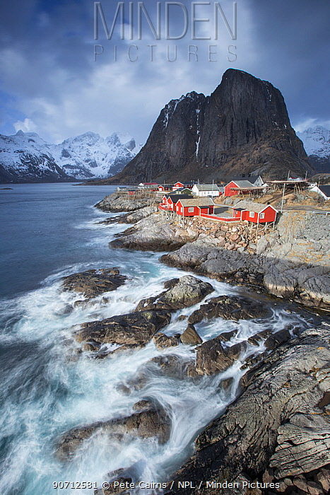 View over fishing village of Hamnoya, Lofoten, Norway. March 2015.
