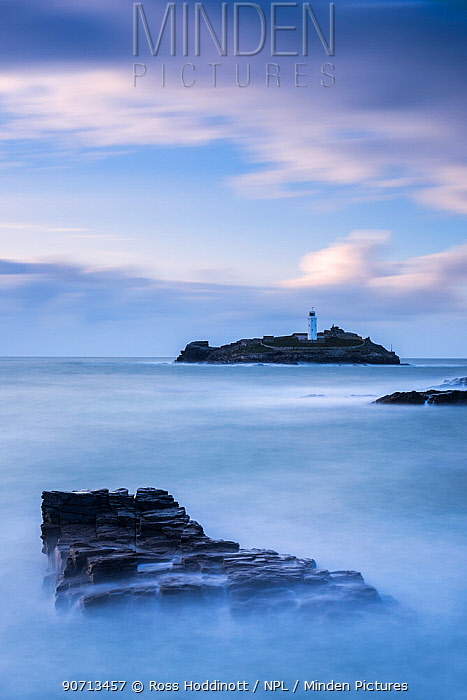 Godrevy Island and lighthouse, at dusk, Hayle, Cornwall, UK. October 2014.