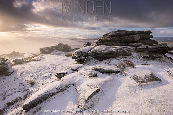 Great Mis Tor, morning light and mist after snowfall, Dartmoor National Park, Devon, UK. January 2015.