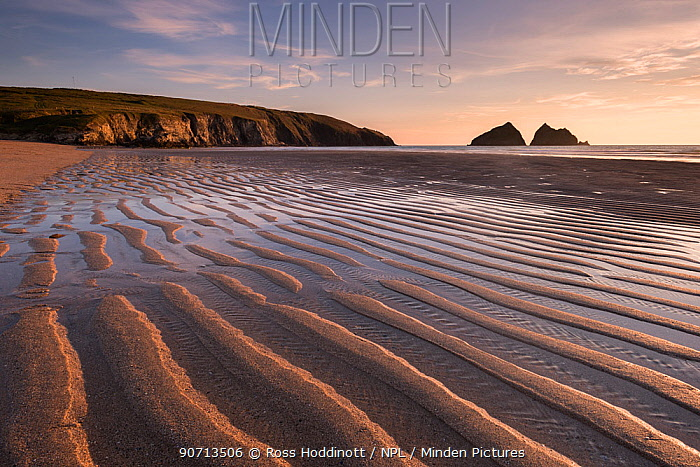 Holywell Bay in evening light and sand ripples, near Newquay, Cornwall, UK. June 2015.