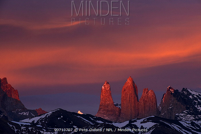Three granite peaks of Paine mountain range, Torres del Paine National Park, Patagonia, Chile.