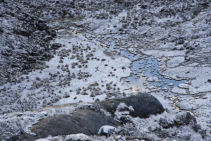 Landscape around mountain refuge in Cordillera Blanca, Andes, Peru, November 2006.