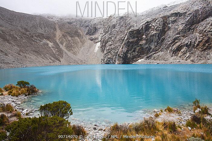 Glacier lake (Lake 69) at the foot of Chacraraju (6112m), Cordillera Blanca Massif, Andes, Peru, November 2006.