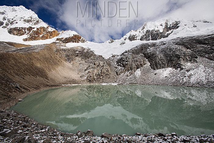 Glacial lake at 4800 m, Cordillera Blanca Massif, Andes, Peru, November 2006.