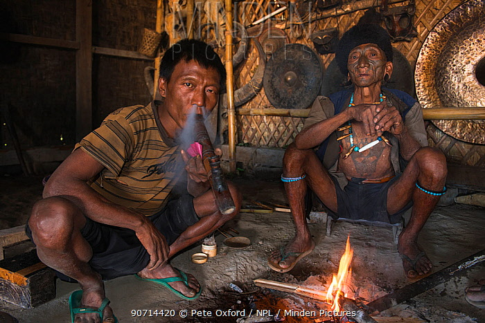 Konyak Naga opium smokers. Mon district. Nagaland,  North East India, October 2014.