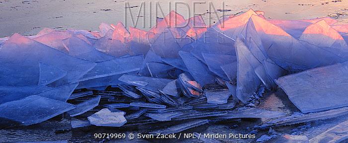 Ice sheets before sunrise in Estonia. December 2009.
