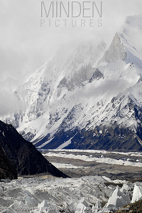 View of the Baltoro Glacier, with mountains in the background, Central Karakoram National Park, Pakistan, June 2007.
