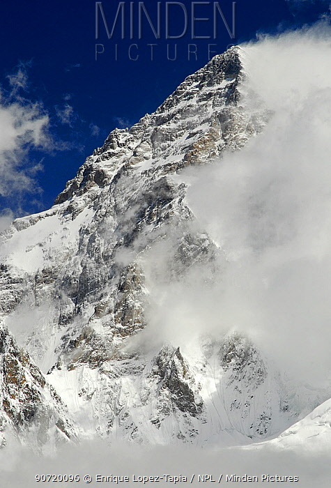 View looking up to the summit of K2 (8,611m), Central Karakoram National Park, Pakistan, June 2007