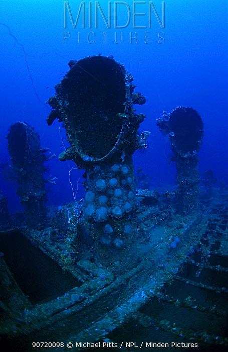 Engine room ventilator shafts of oil tanker 'Seiko Maru'. Sunk in Chuuk Lagoon 17/18th February 1944, Chuuk Lagoon, Pacific