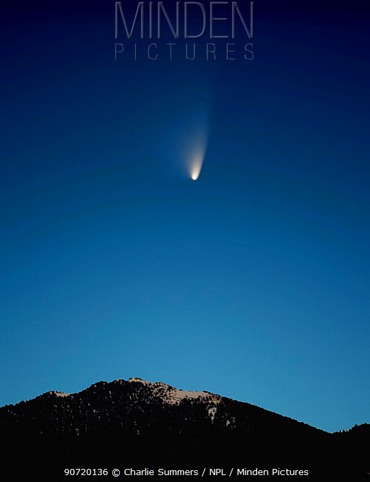 The comet 'PANSTARRS' in transit above the Rocky Mountains, Colorado. March 19, 2013 20:18.  This is a stack of nine images, averaged and then stretched, a common practice in astrophotography, to bring out the tail of the comet.