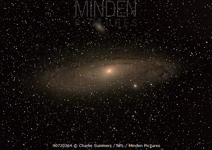 The Great Andromeda Galaxy (M32) and its two brightest satellite galaxies M110 to the right and close to Andromeda, and M32 (Messier 32) to the upper left. June 11, 2013 at 02.27. Taken with digital image stacking.