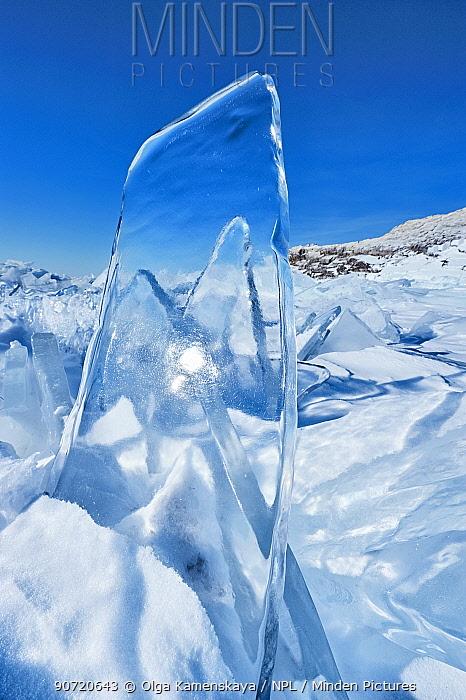 Clear pane of ice, Lake Baikal, Siberia, Russia, March.