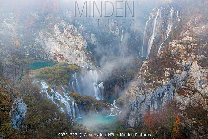 Veliki Slap, the largest waterfall in this image, and Sastavci series of waterfalls, Plitvice Lakes National Park, Croatia. November.