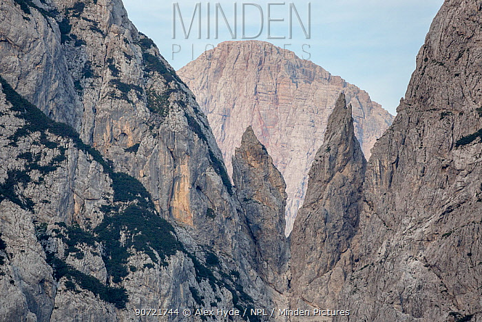 Sheer limestone pinnacles viewed from the Vrsic Pass, Triglav National Park, Julian Alps, Slovenia, July 2015.