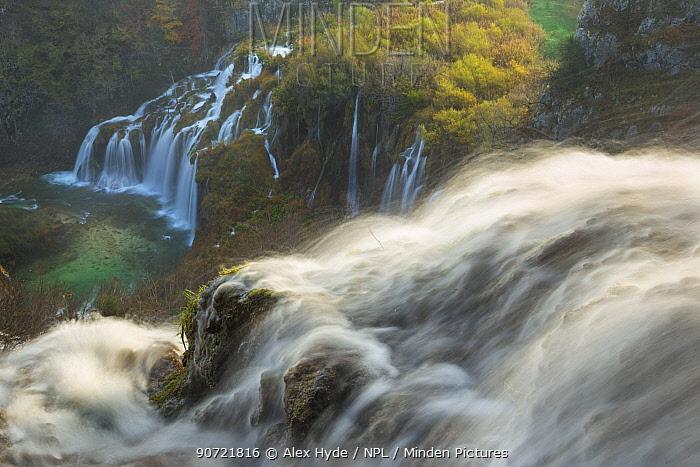 Sastavci waterfalls between mountain lakes, Plitvice Lakes National Park, Croatia. November.