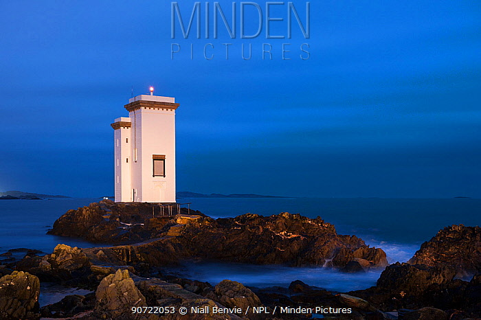 Carraig Fhada lighthouse, Port Ellen, Islay, Scotland, UK, February.