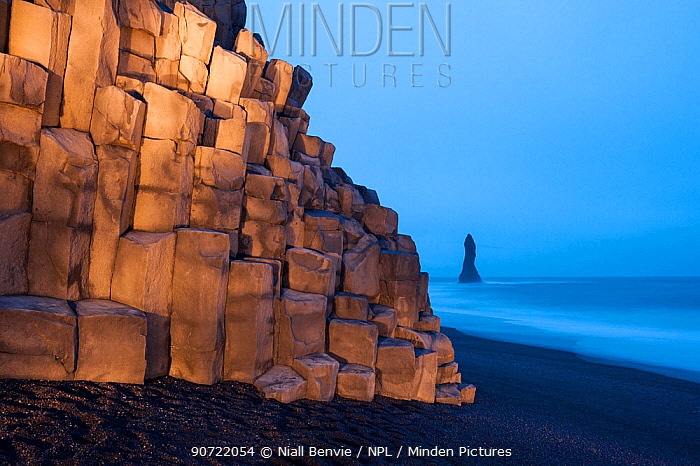 Cliff at Vik beach, light by torchlight, Iceland, March 2015.