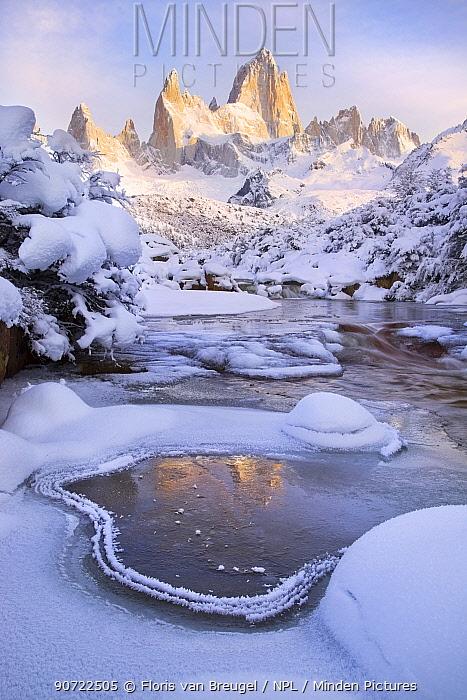 Mount Fitz Roy at dawn on a snowy winter morning, Patagonia region of Argentina near El Chalten, June 2014.
