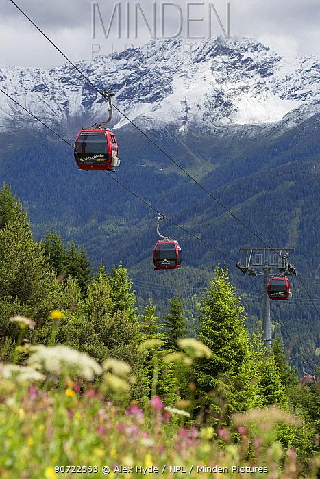 Cable cars at Fiss, Nordtirol, Austrian Alps, June 2014.