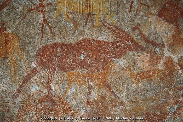 San rock paintings of antelopes, Matobo Hills, Zimbabwe. January 2011.