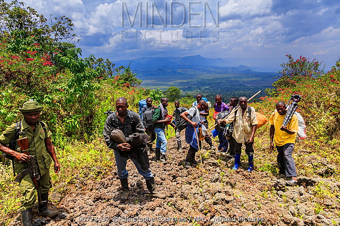 Virunga National Park guard with porters carrying equipment and supplies, on trail to Nyiragongo Volcano, Virunga National Park, North Kivu Province, Democratic Republic of Congo. September 2015.