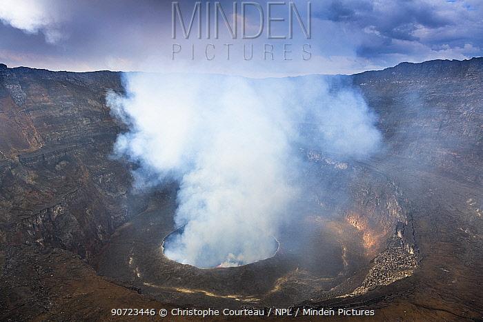 Steam rising from the crater of Nyiragongo Volcano. Virunga National Park, North Kivu Province, Democratic Republic of Congo. September 2015.