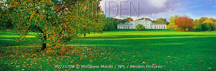 Panoramic of grassland and autumnal trees in front of Kenwood House, Hampstead Heath, London, England, UK.