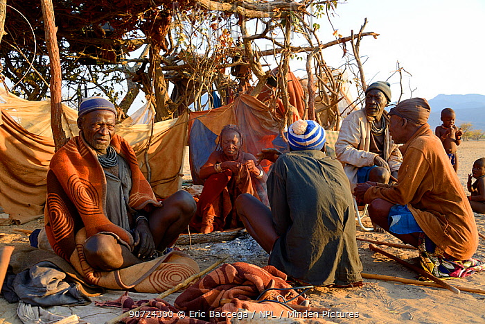Elderly himba men and woman gathering in the morning in the village chief's hut, Marienfluss Valley, Kaokoland Desert, Namibia. October 2015