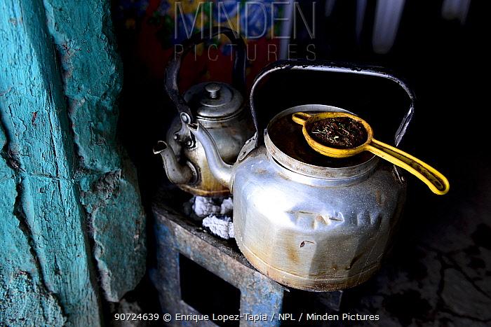 Kettle and strainer to make Ethiopian coffee, Danakil depression, Afar Region, Ethiopia, Africa. November 2014.