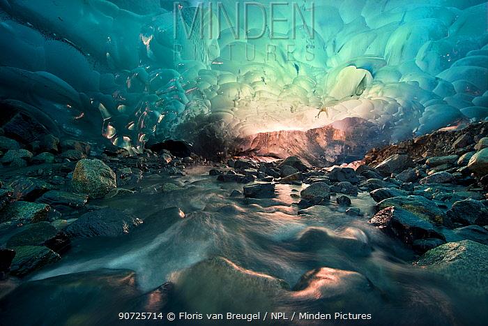 Ice cave with melt water running through, Mendenhall Glacier, Juneau, Alaska, USA, August 2014.