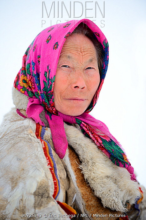 Tatiana Salinder, portrait of Nenet herder. Yar-Sale district, Yamal, Northwest Siberia, Russia. April 2016.