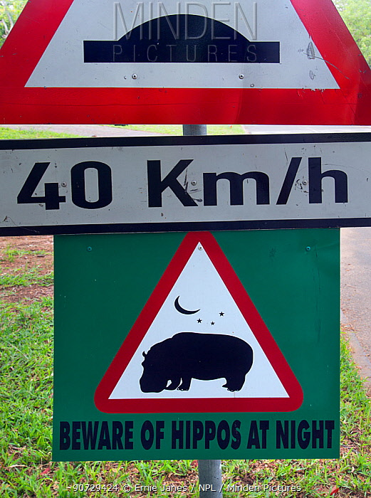 Hippopotamus (Hippopotamus amphibius) warning sign, St Lucia, KwaZulu-Natal, South Africa.