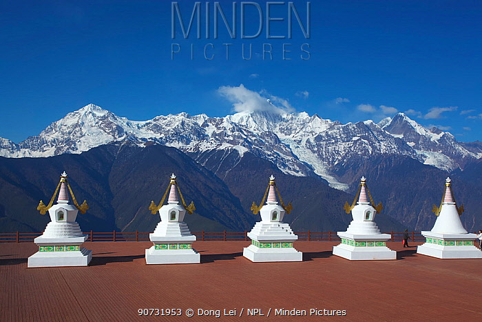 The Eight Great Stupas, shrines marking the eight major events of Buddha's life. Kawakarpo Mountain, Meri Snow Mountain National Park, Yunnan Province, China, January 2014.
