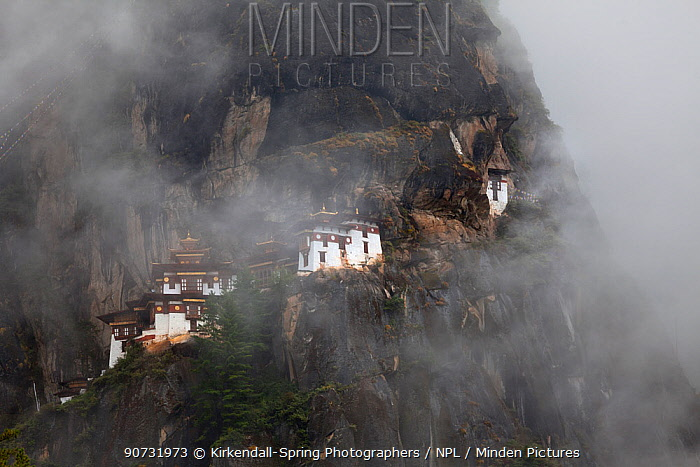 The Tiger's Nest Monastery on a rocky mountainside near the town of Paro. Bhutan, October 2014.