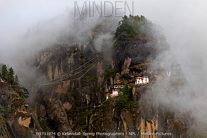 The Tiger's Nest Monastery on rocky mountainside near the town of Paro. Bhutan, October 2014.