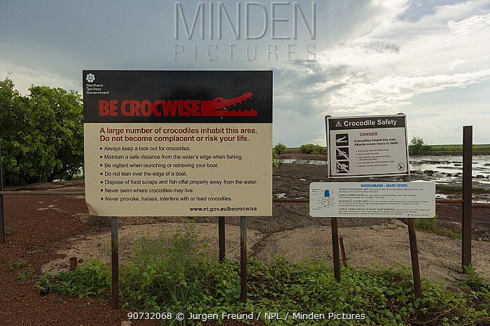 'Be Crocwise' crocodile warning sign, at Shady Camp. Northern Territory, Australia.