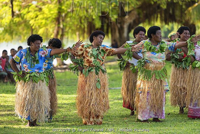 Traditional Fijian communal dance 'meke', combining dancing, singing, chanting, clapping and drum beating, Kavewa Island, Macuata Province, Fiji, South Pacific. August 2013
