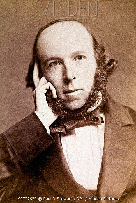 Sepia photograph of Herbert Spencer (1820-1903), English philosopher, 1860s. Spencer was a journalist who published his best known work Principals of Psychology in which he applied Darwin's ideas on evolution to man. He also coined the phrase 'survival of the fittest' and applied it to sociology and economics.