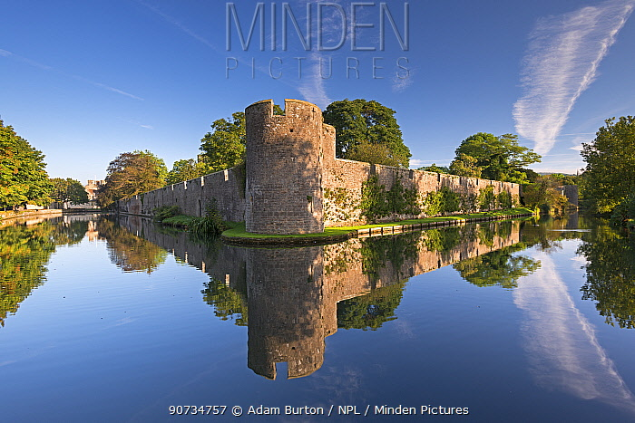 Bishop's Palace and moat in the city of Wells, Somerset, England, UK. September 2013.