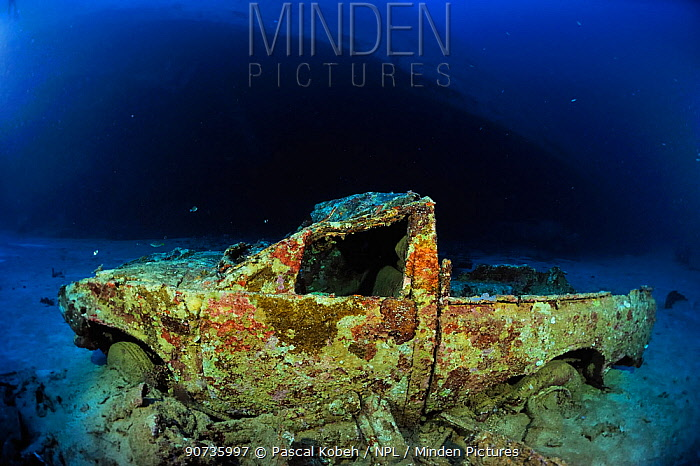 The wreck of a pick-up or a van in Shaab Suedi also called Toyota Reef, the reef where the Blue Bell / Belt sank in 1977 with its load of cars and vans, Red Sea, Sudan