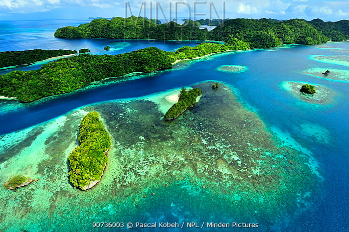 Aerial view of Palau and associated tropical islands, Philippine Sea